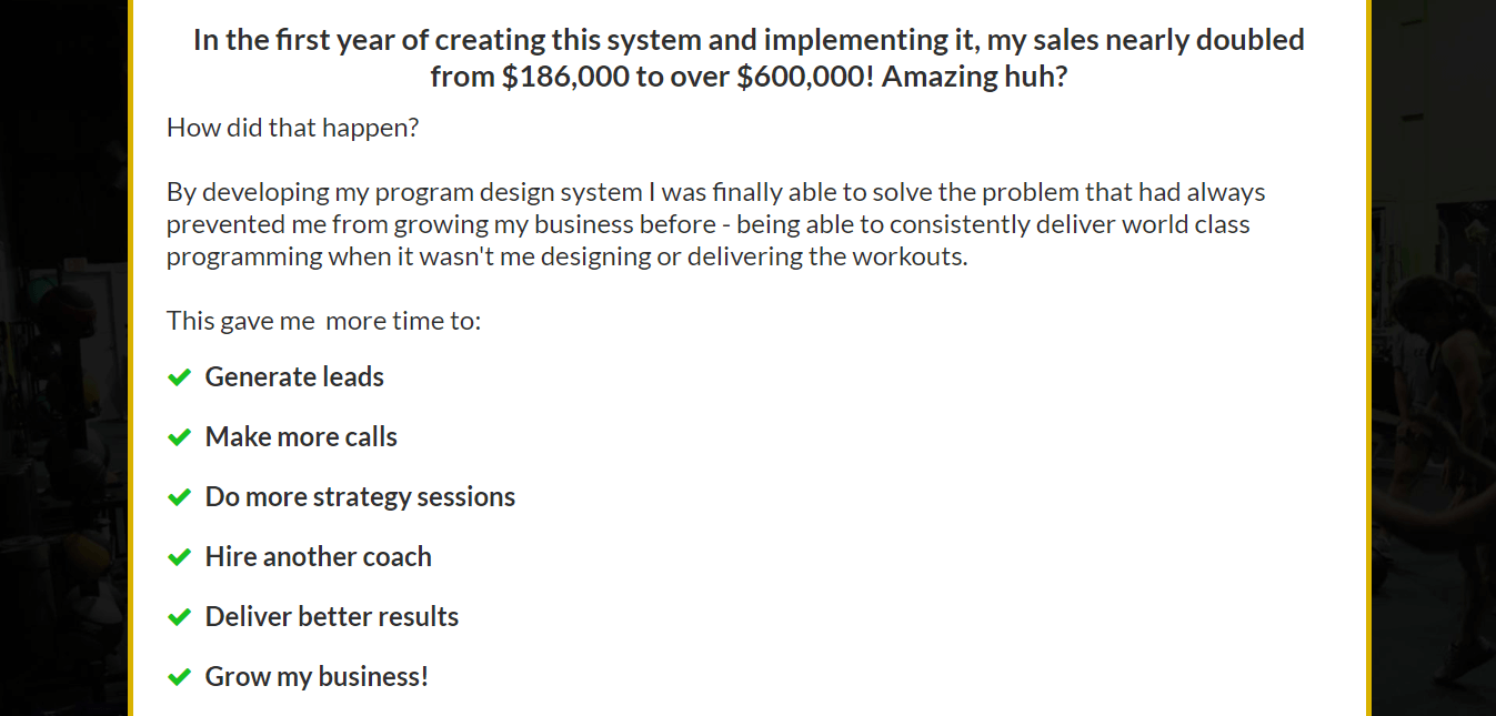 A screenshot from the website, where Fred (the creator of the program) explains how developing this program helped him in increasing his sales.