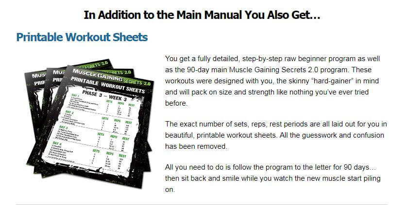 Workout sheets help you stay on track.