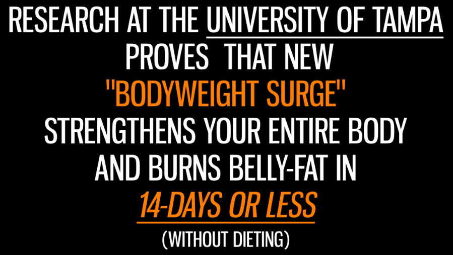 A screenshot from the product website talking about the Bodyweight Surge research at the University of Tampa.