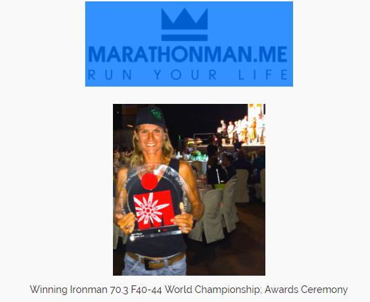 Marlies Kort during the Winning Ironman Awards Ceremony
