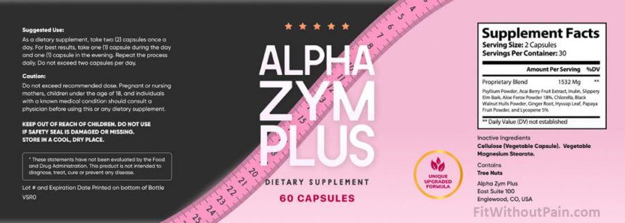 Alpha Zym Plus Supplements Facts