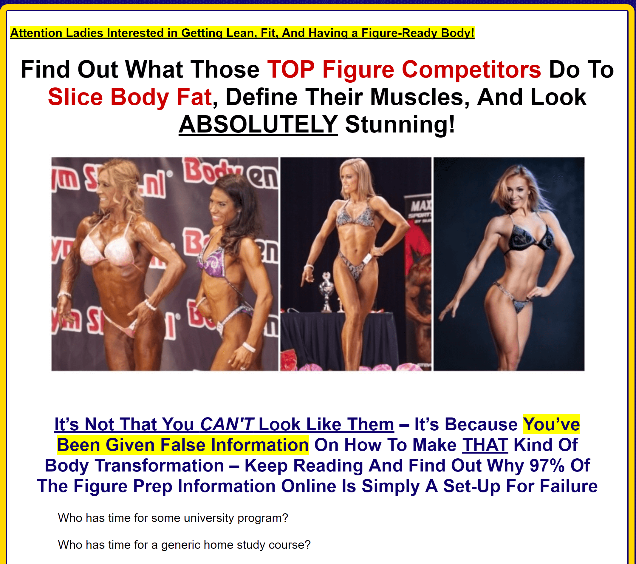 Figure Competition Secrets for the perfect body