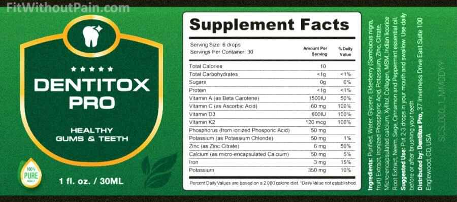 Dentitox Pro Solution Supplements Facts