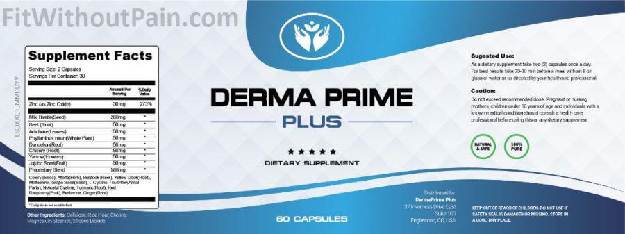 Derma Prime Plus Supplement Facts