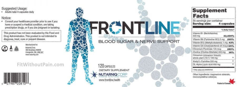 Frontline Diabetes Supplement Facts and product details