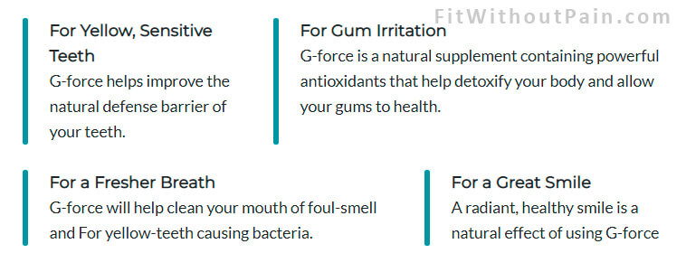 G Force Advantage of the product
