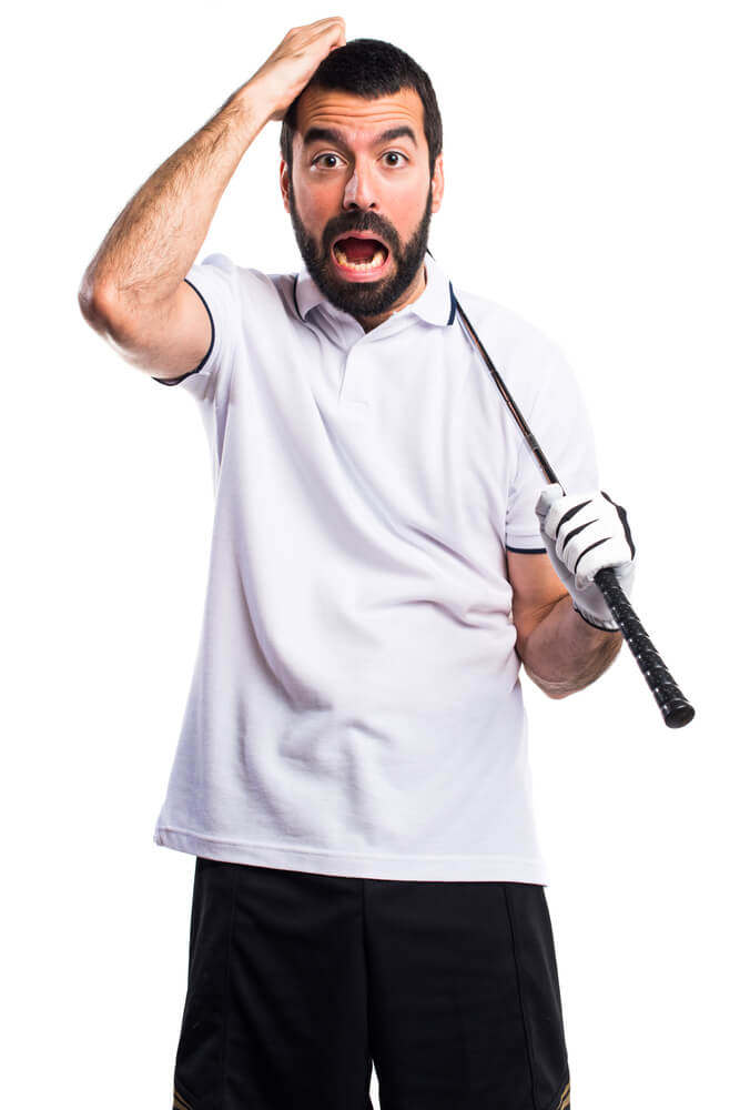 Golfer doing surprise gesture