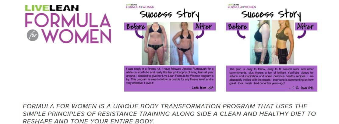 Success story examples to clients using Live lean formula for women