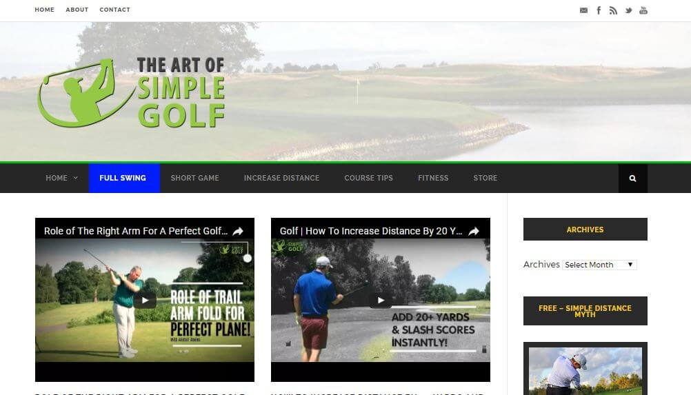 Website of The Art Of Simple Golf