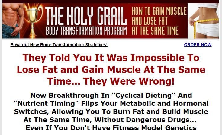 Website of the holy grail body transformation program