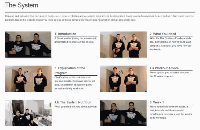 bar brothers training system section has 18 videos with information
