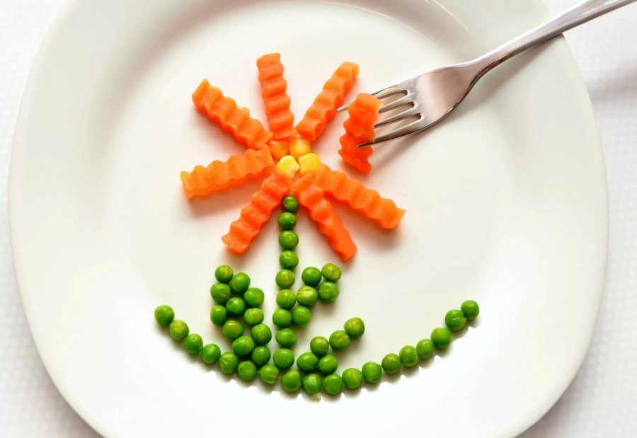 eating healthy such as vegetables