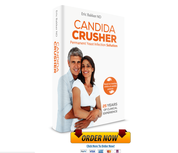 Candida Crusher, written by Dr. Eric Bakker, is an ultimate step by step guide to Permanent Removal of Yeast Infection