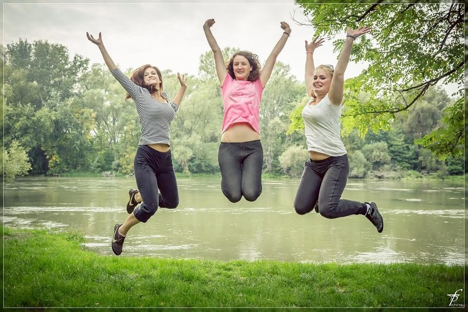 Woman Jumping Beautiful Happy People Female Jump
