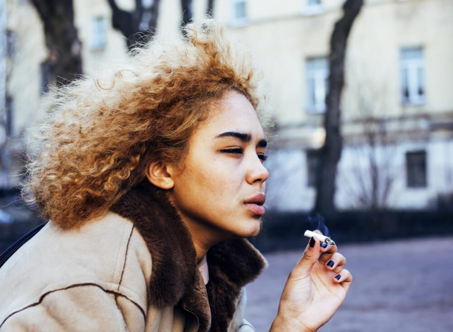 girl teenage outside smoking