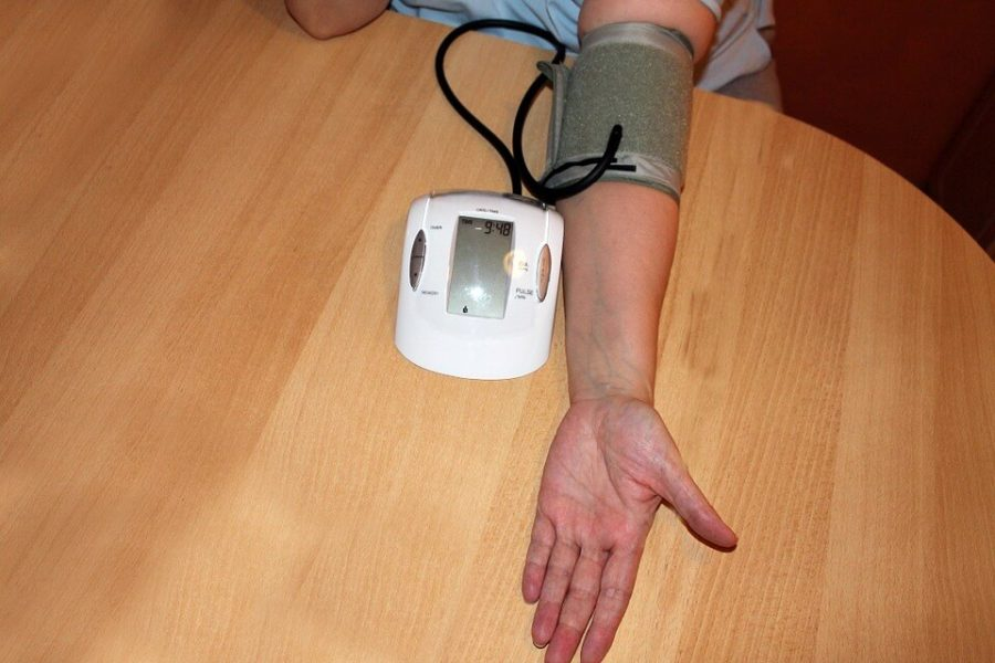 Patient checking blood pressure
