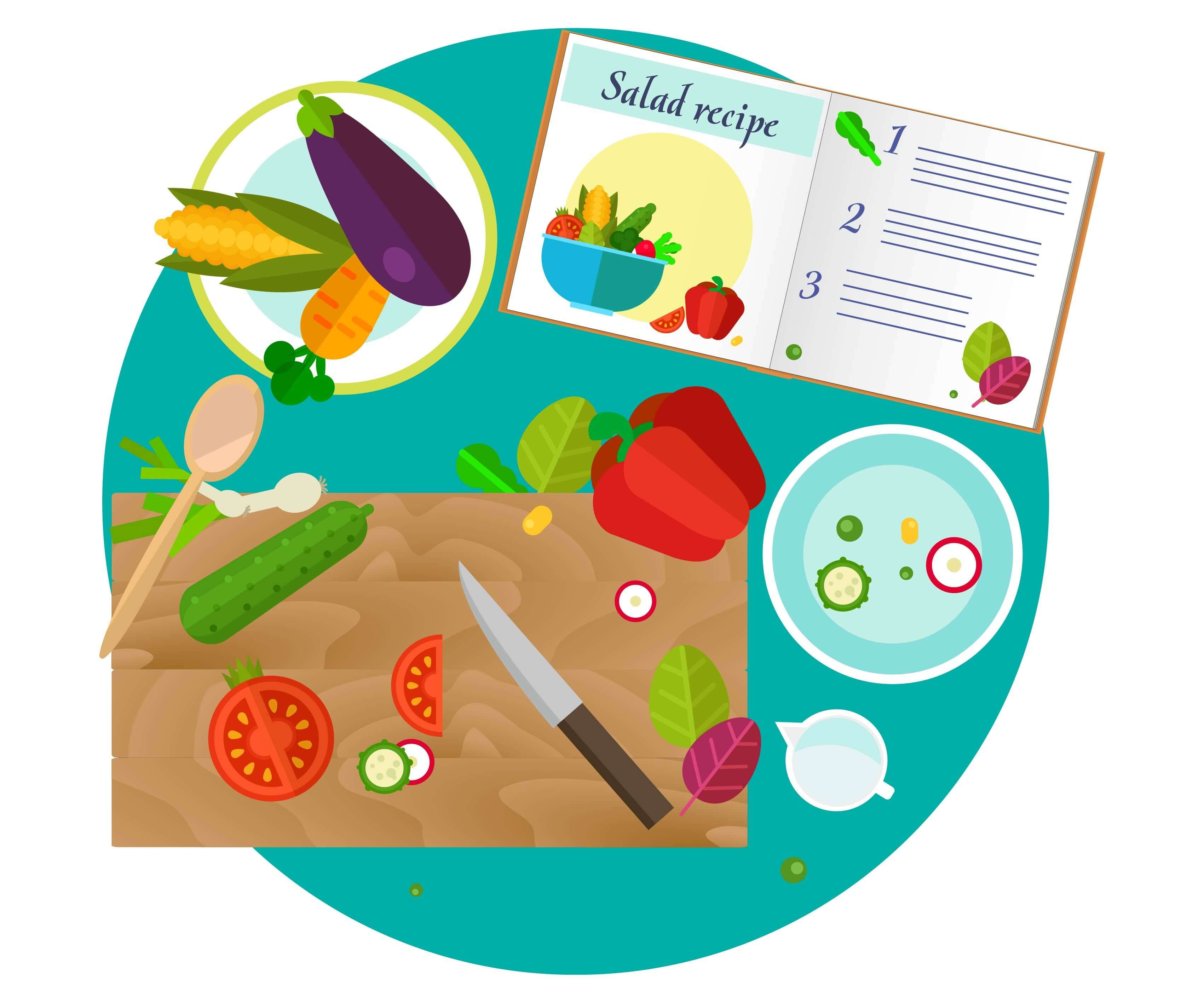 Cooking set for salad