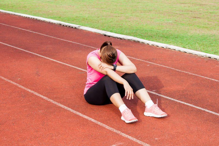 Frustrated female runner