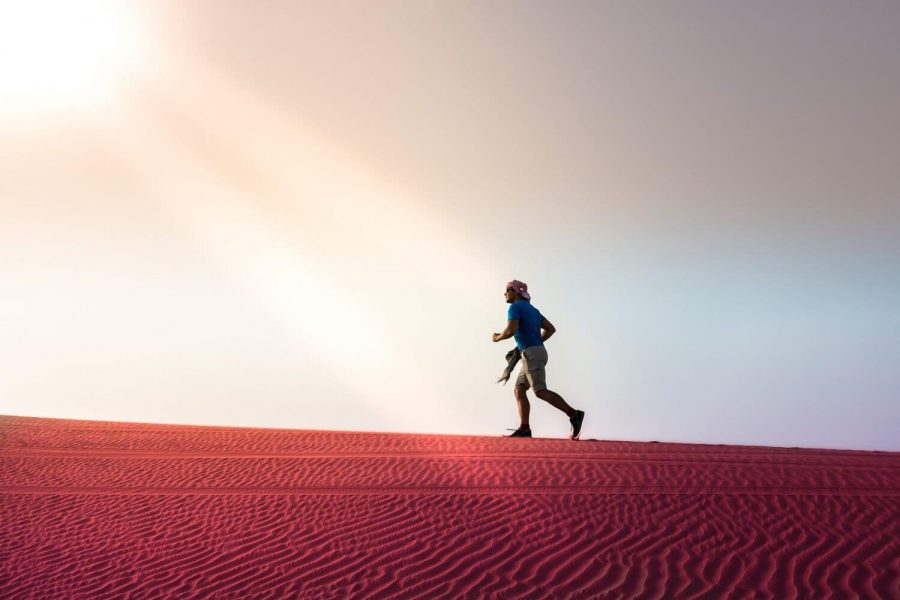 running in desert